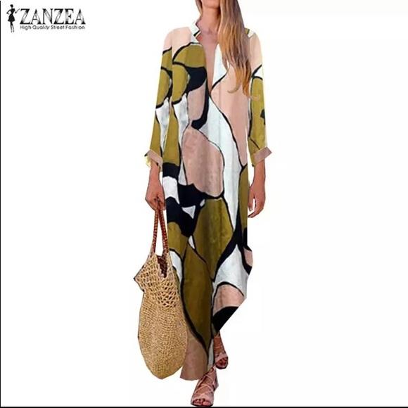 Zanzea Dresses & Skirts - Summer Maxi Dress V Neck Long Sleeve Floral Print